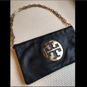 Tory Burch Reva Clutch Handbag | Black & Gold